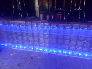 Indoor Glass Block Installation With Lights