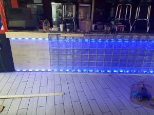 Indoor Glass Block Installation With Lights