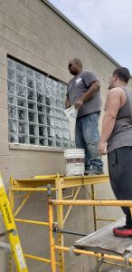 Finishing Installation of Glass Block Window
