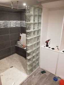 Glass Block Shower Installation